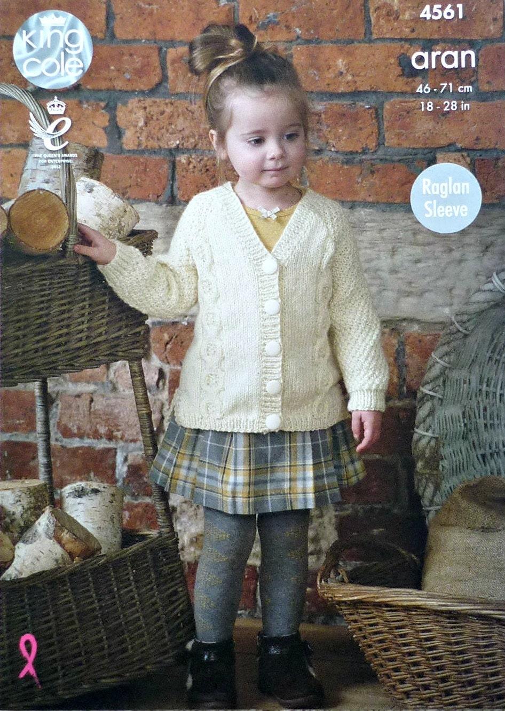 Girls Knitting Pattern K4561 Childrens Long Sleeve V-Neck Cable ...