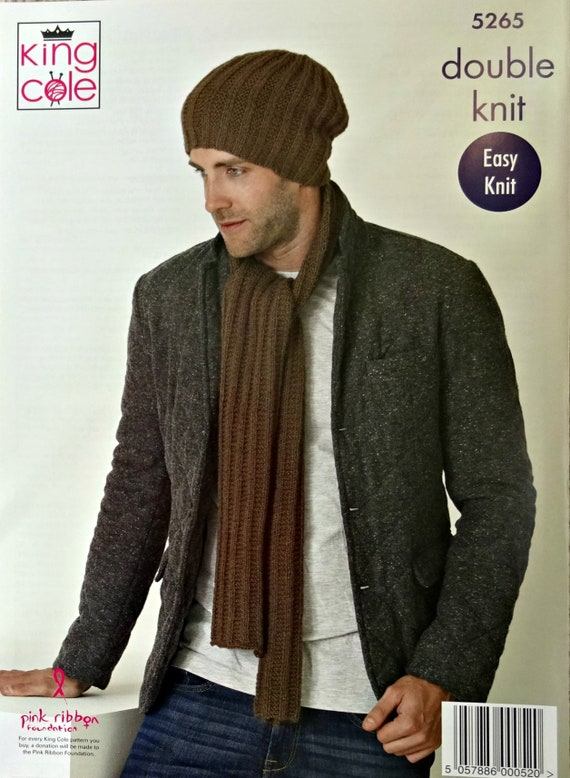 580ff6951ab Mens Knitting Pattern K5265 Mens Easy Knit 3 Styles Hat Cowl