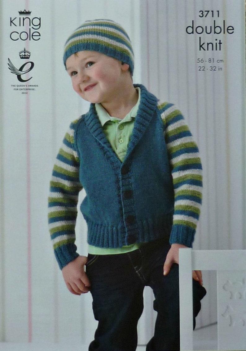 ac9787c47 Boys Knitting Pattern K3711 Childrens Long Sleeve Roll Collar