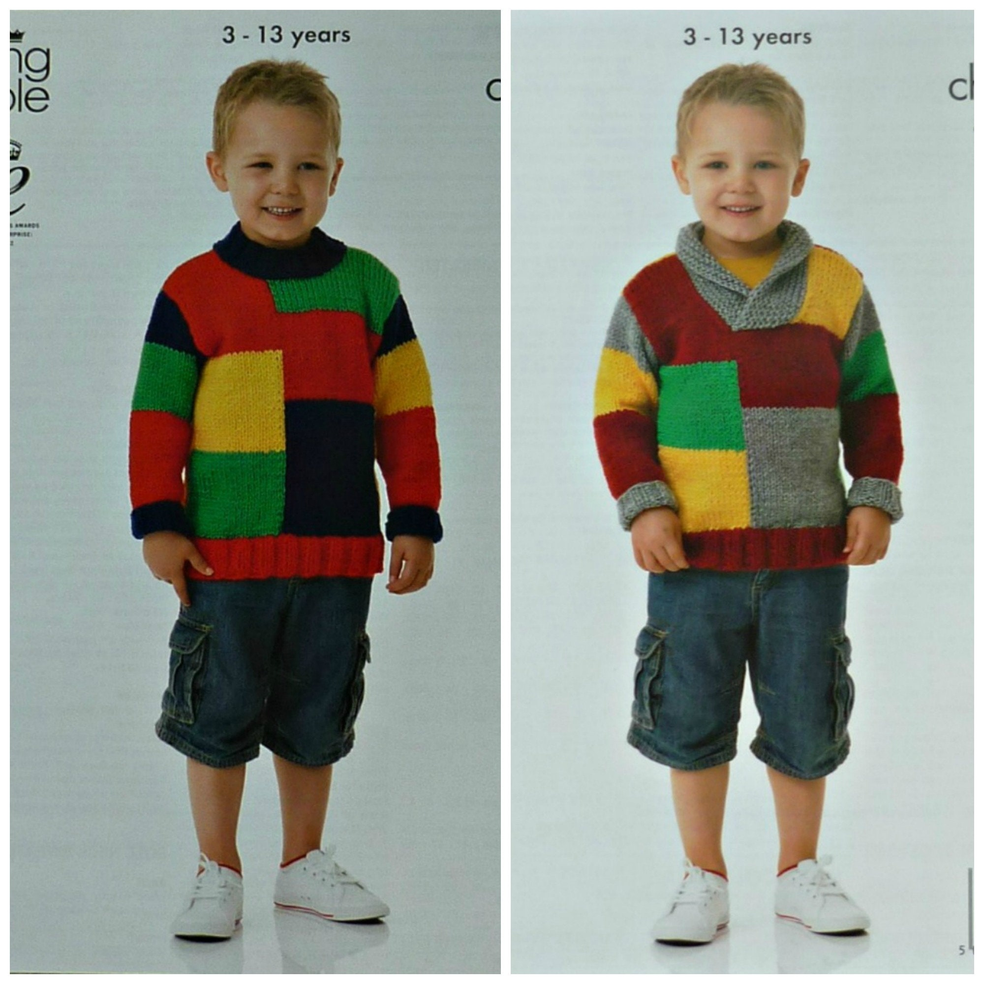 0bb58cf8b431 Boys Knitting Pattern K3856 Childrens Long Sleeve Round or Roll ...