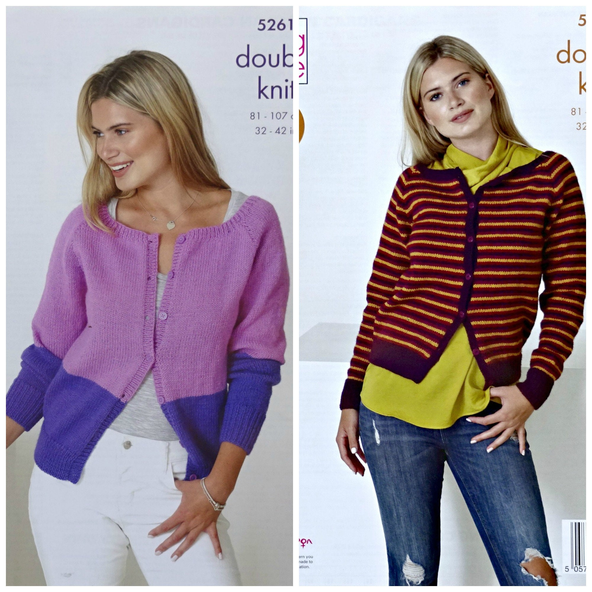 d8f5e875dd6a Womens Knitting Pattern K5261 Ladies Easy Knit Round Neck 2 ...