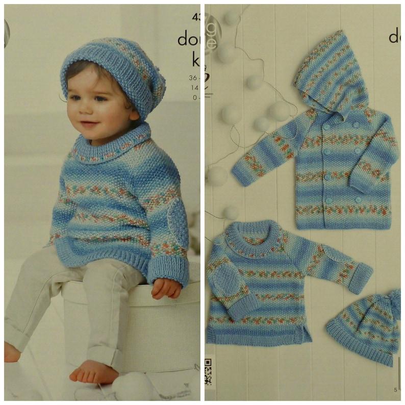 0f9e59117 Baby Knitting Pattern K4309 Babies Moss Stitch Hooded Coat