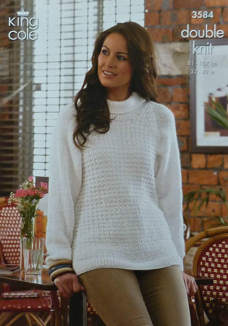 70080ec3c8bb Womens Knitting Pattern K3584 Ladies Long Sleeve Roll Neck ...