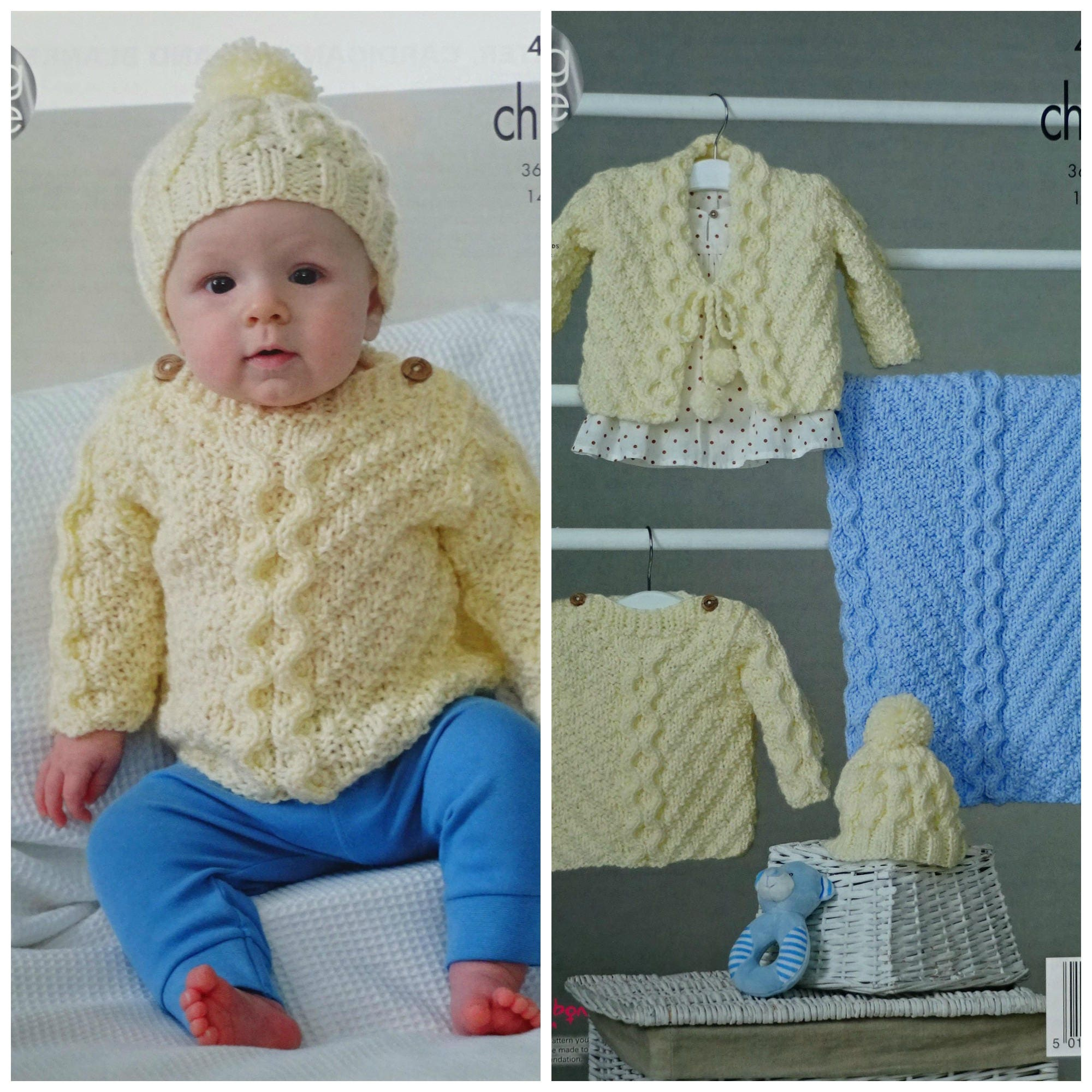Baby Knitting Pattern K4847 Babies Cable Jumper Blanket Hat And