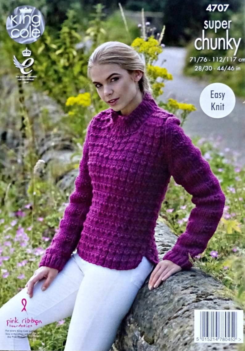 3a42bf801 Womens Knitting Pattern K4707 Ladies Easy Knit Long Sleeve
