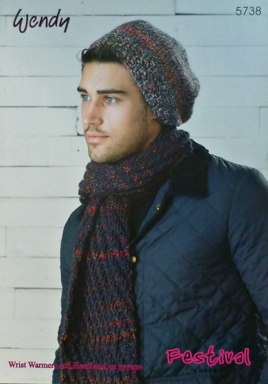 Mens Knitting Pattern W5738 Mens Beanie Hats Scarf Knitting