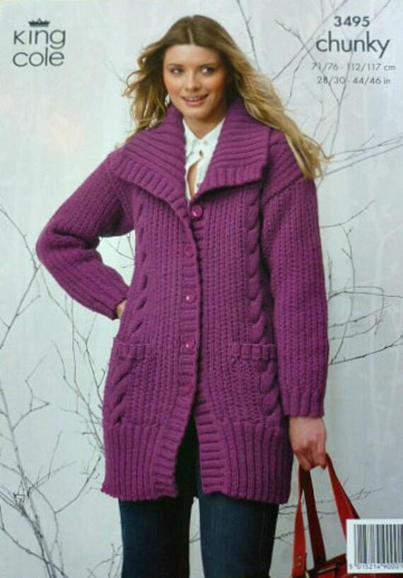 King Cole Knitting Pattern 3495 Chunky Tunic Jacket