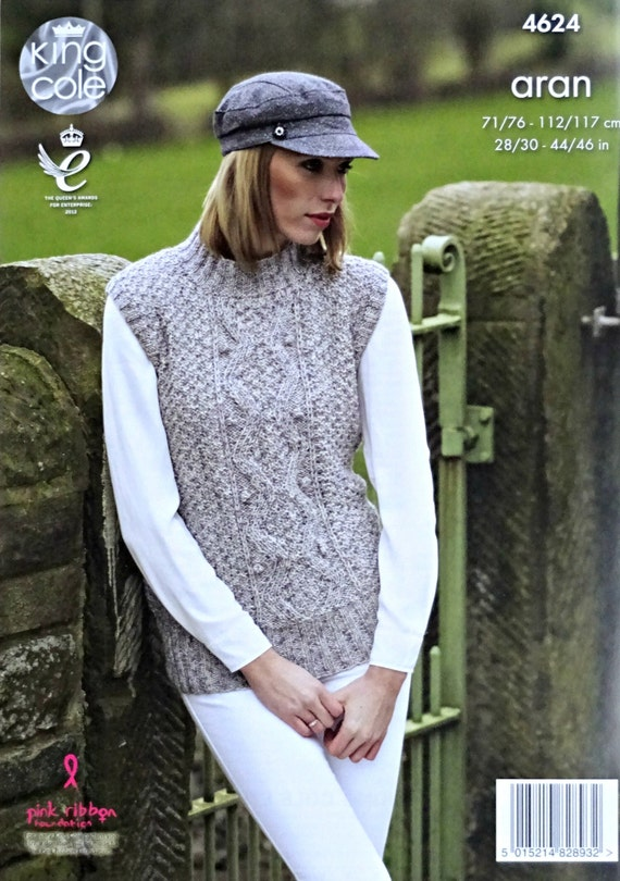 King Cole  Aran Knitting Pattern 4623:Waistcoat /& Slipover