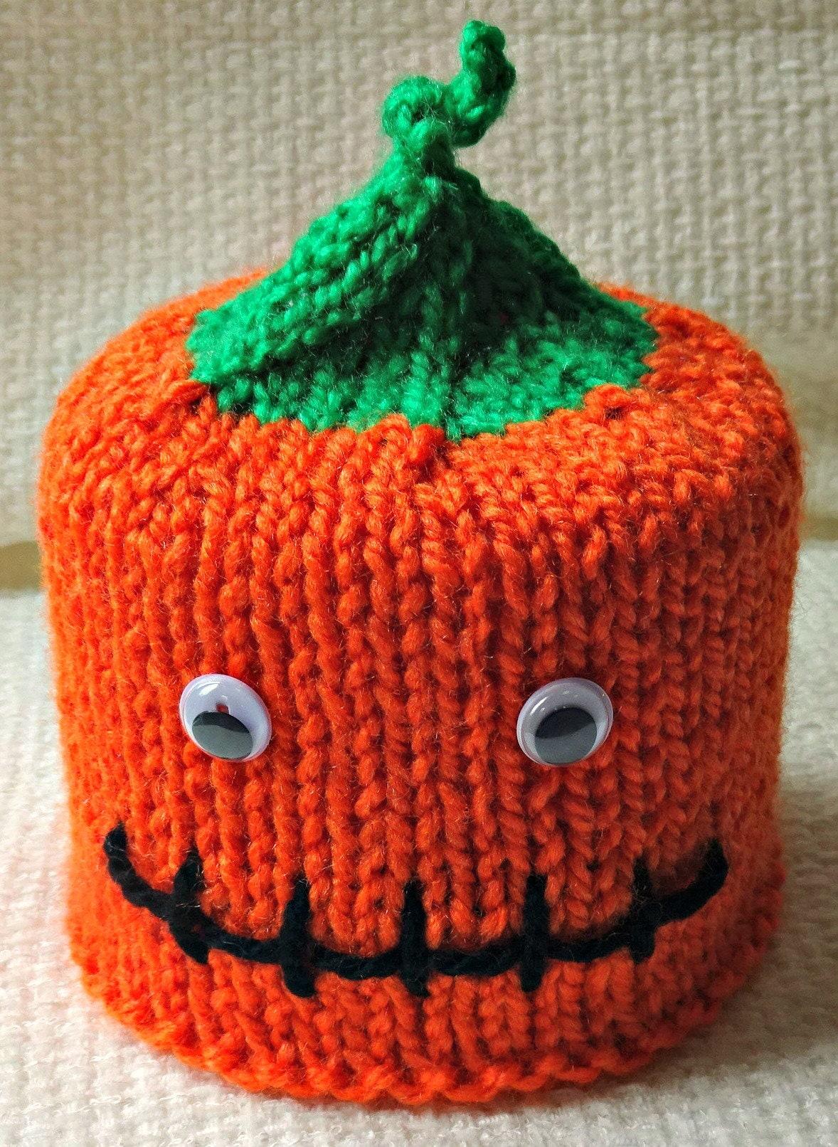 Knitted Pumpkin Toilet Roll Cover Halloween Bathroom Pumpkin Roll ...