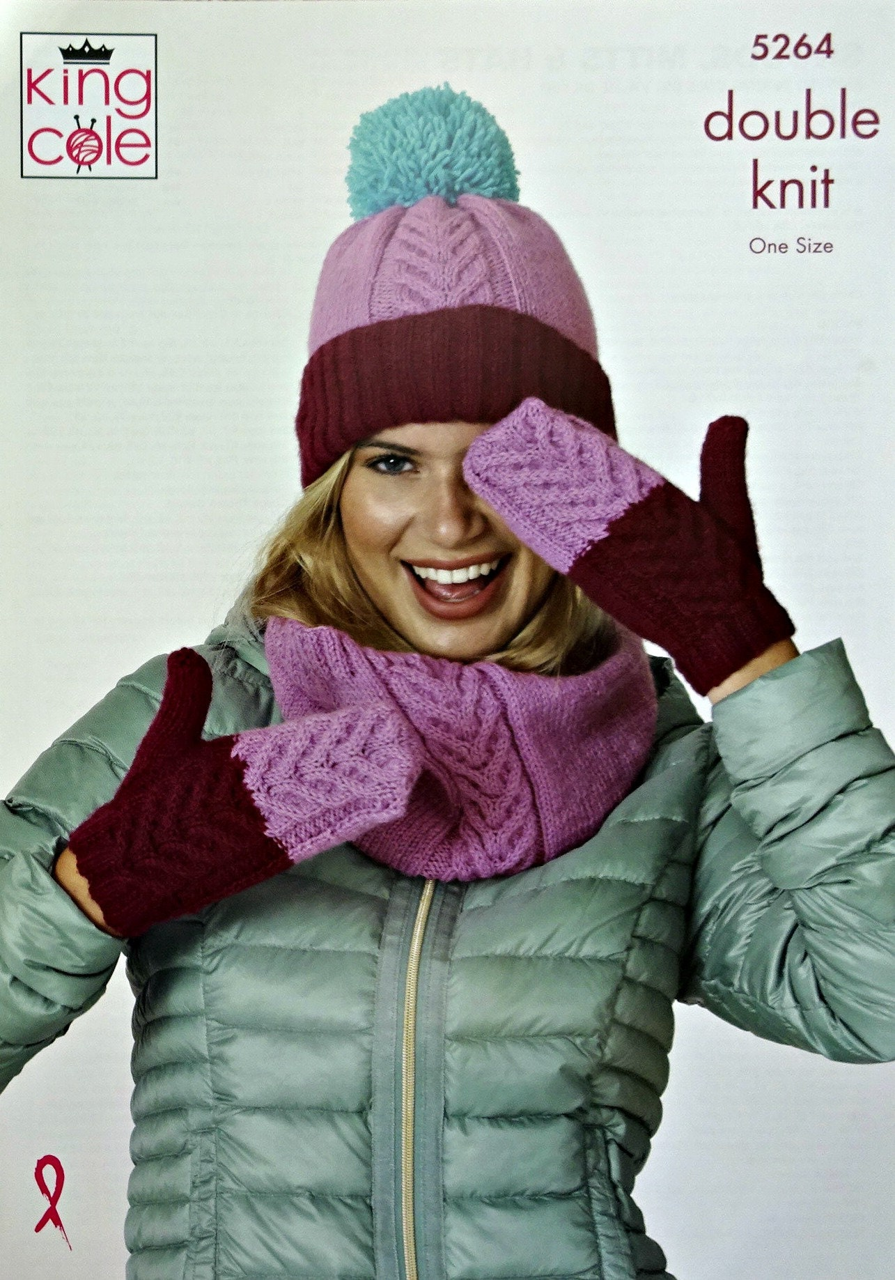 KNITTING PATTERN Ladies Cable Hat Mittens /& Cowl DK King Cole 5264