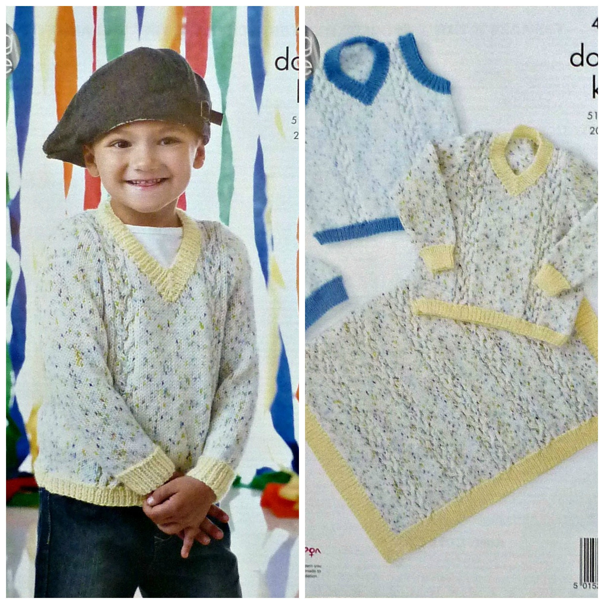 00c2c716a Boys Knitting Pattern K4447 Childrens Cable Blanket Hat