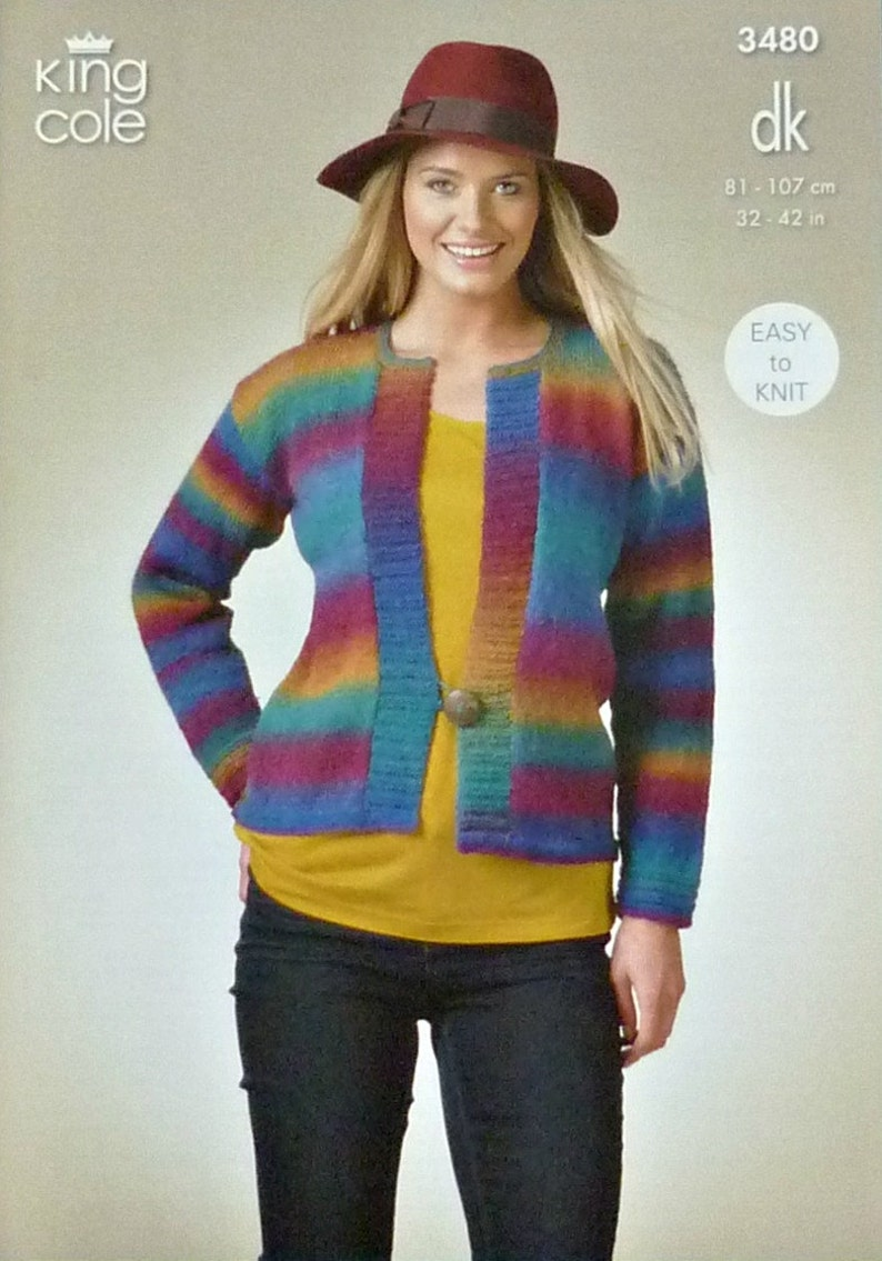 9a074ac55 Womens Knitting Pattern K3480 Ladies Edge to Edge Cardigan