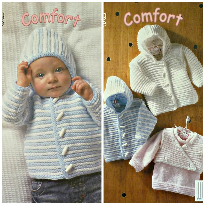 0dcd72fe9 Baby Knitting Pattern K3013 Babies Hooded Plain or Striped