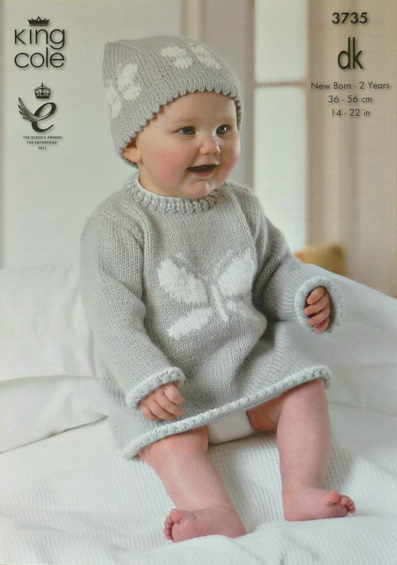 6ac319e952fb Baby Knitting Pattern K3735 Babies Dress and Hat with