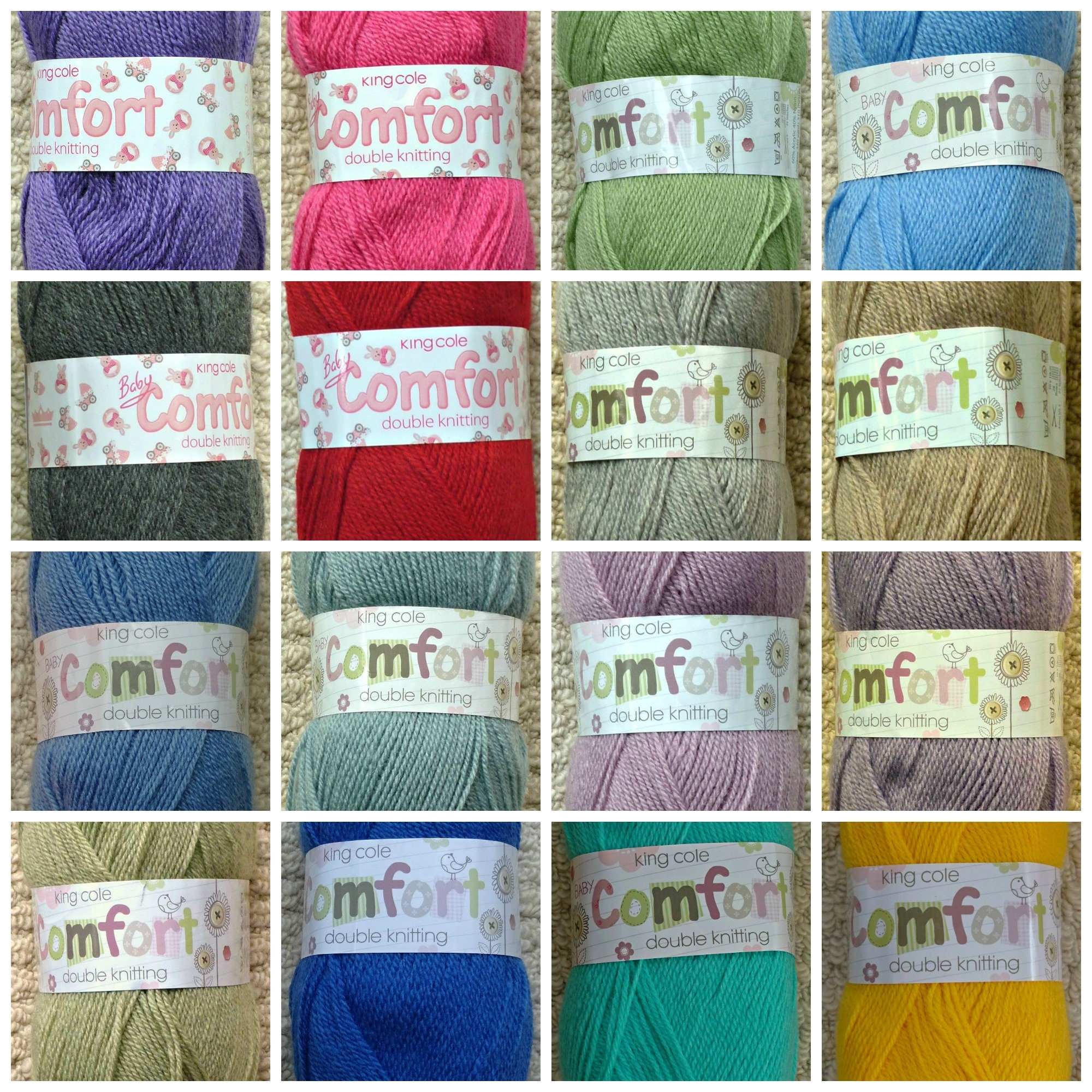 6 Shades available King Cole 100grm Baby Comfort 4 Ply
