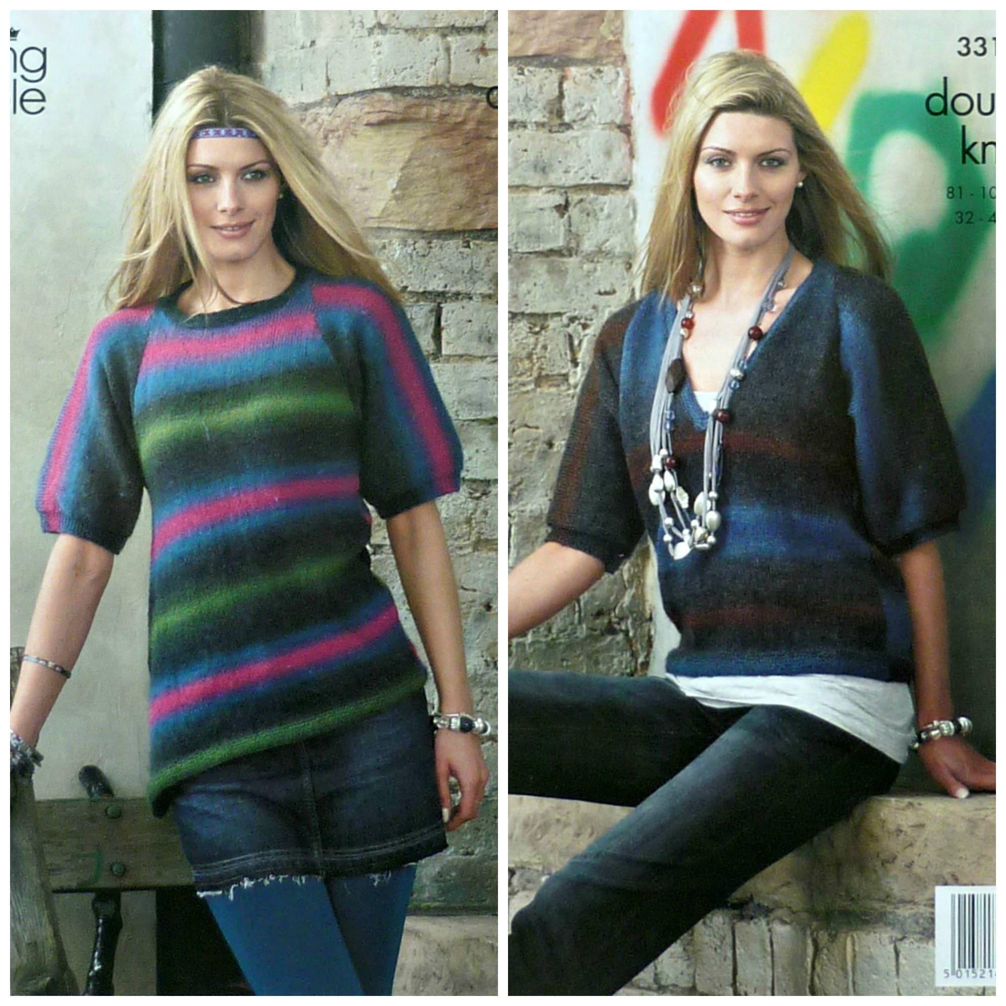 5463bb6f5 Womens Knitting Pattern K3314 Ladies Short Sleeve A-symetrical ...