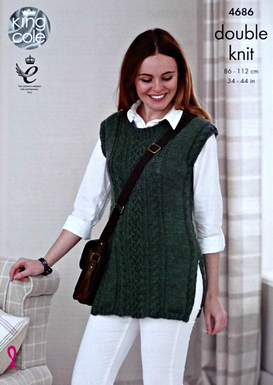 Womens Knitting Pattern K4686 Ladies Long Sleeveless Cable Tunic ...
