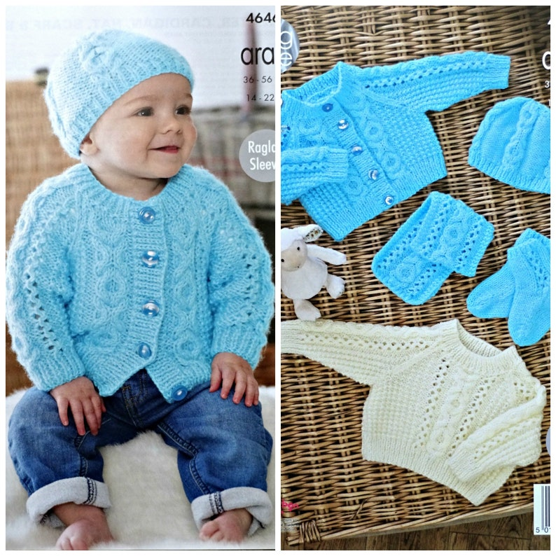 675d063f2 Baby Knitting Pattern K4646 Babies Cable Jumper Cardigan