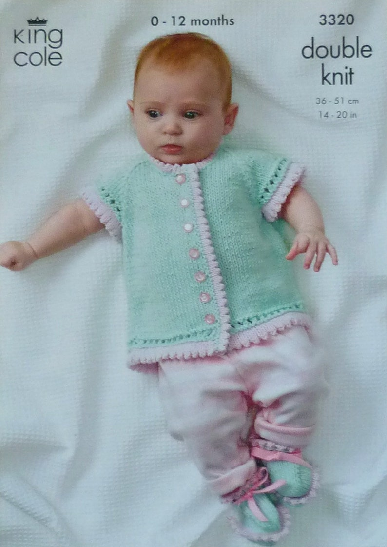 063246216532 Baby Knitting Pattern K3320 Short Sleeve Picot Edge Cardigan