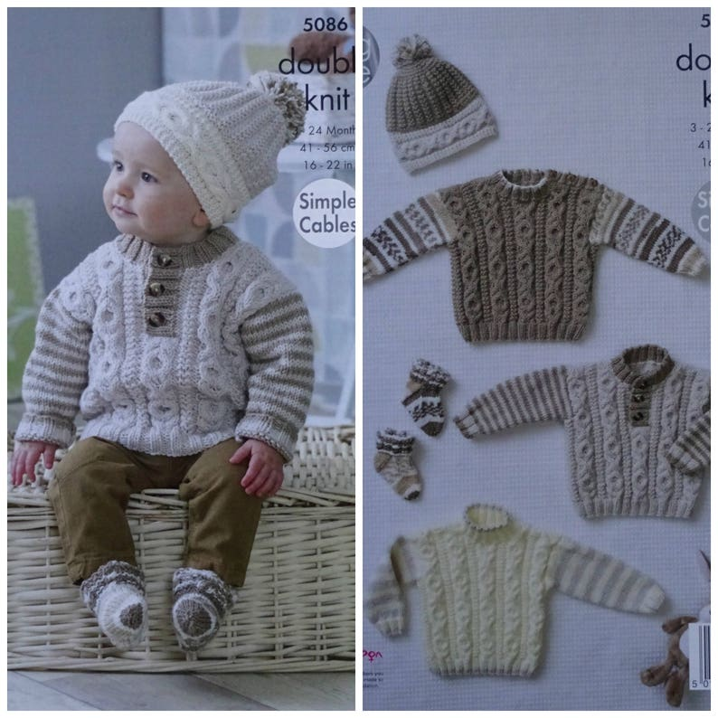 3a69b4320ff Baby Knitting Pattern K5086 Baby s Easy Cable Jumpers in