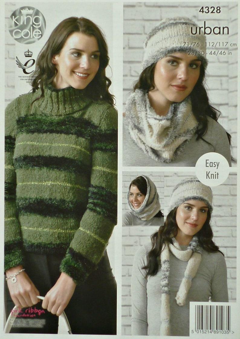 a068224fe479 Womens Knitting Pattern K4328 Ladies Easy Knit Long Sleeve