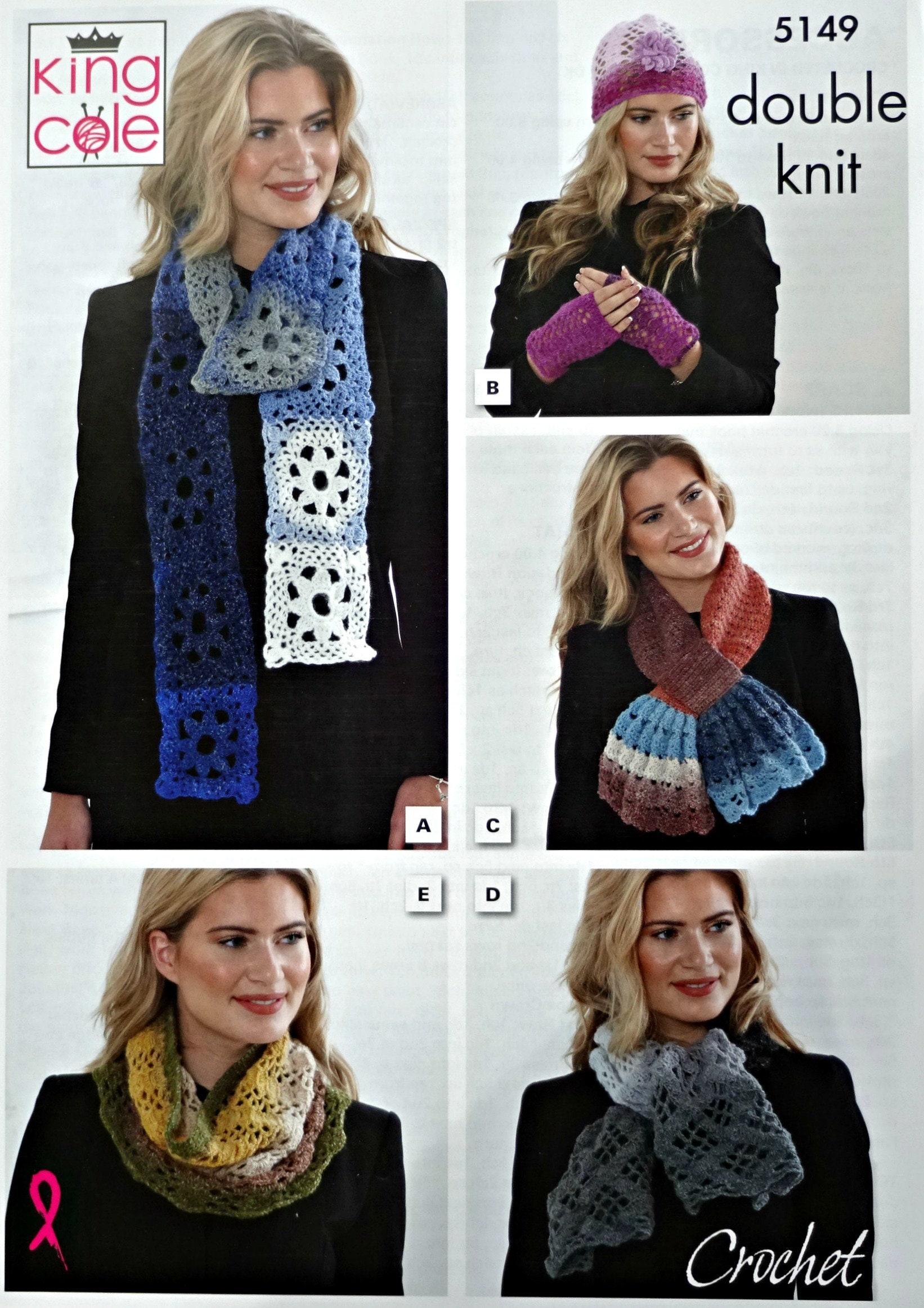 Womens Crochet Pattern C5149 Grannysquares Scarf Hat With Flower