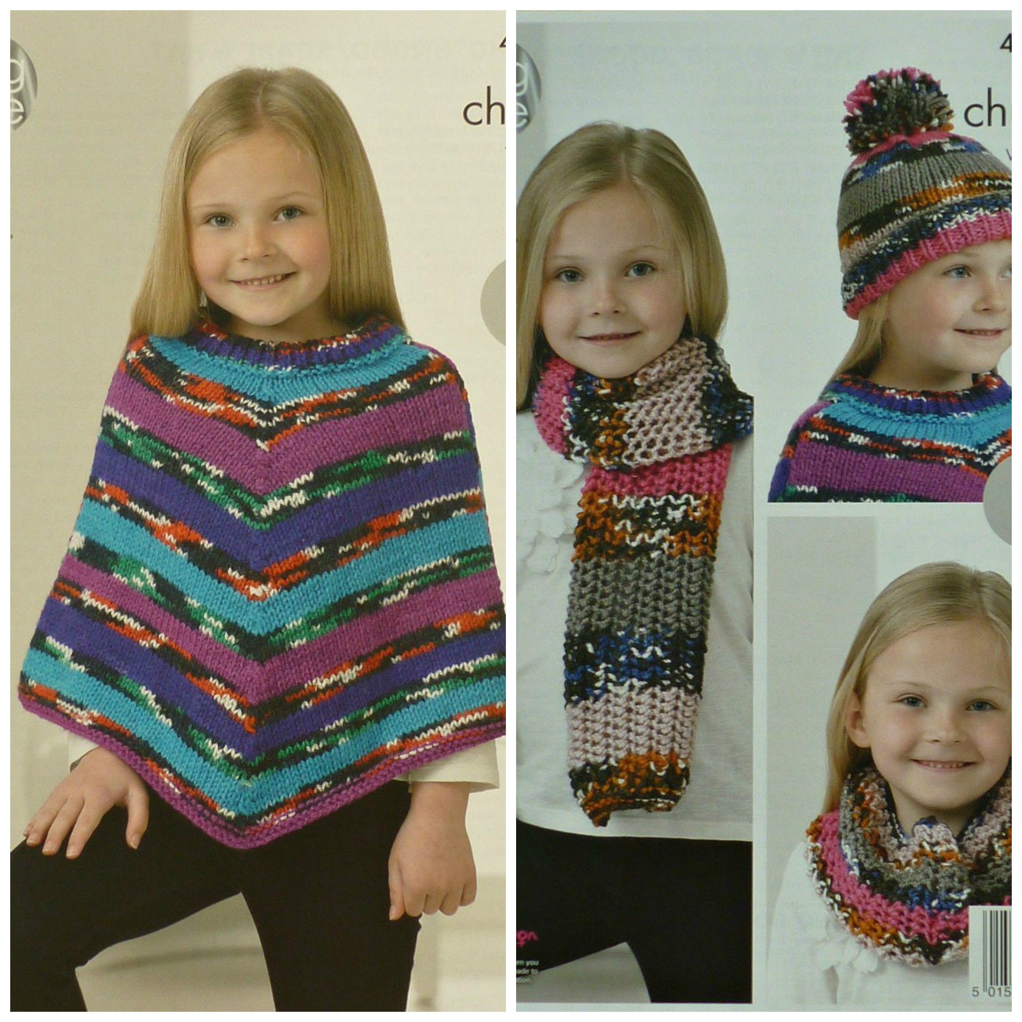 Girls Knitting Pattern K4242 Childrens Easy Knit Poncho Scarf Cowl