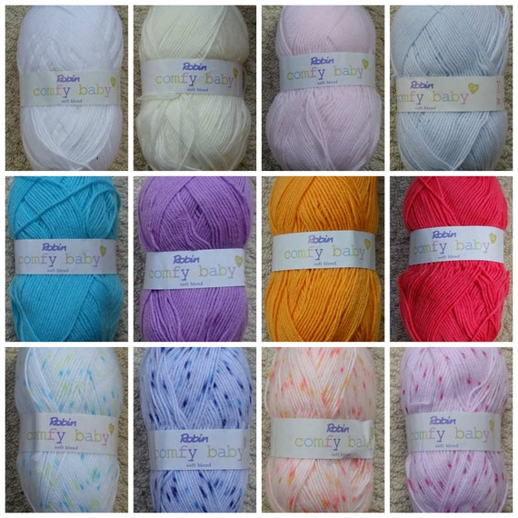 FIVE 100g BALLS ROBIN DOUBLE KNITTING SUPER SOFT YARN BABY PINK BLUE DK CROCHET