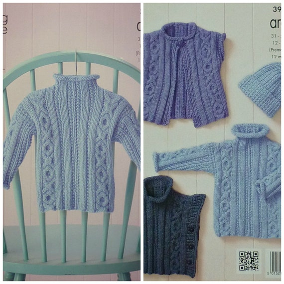 6f17483e3 Baby Knitting Pattern K3975 Babies Cable Waistcoat Jumper