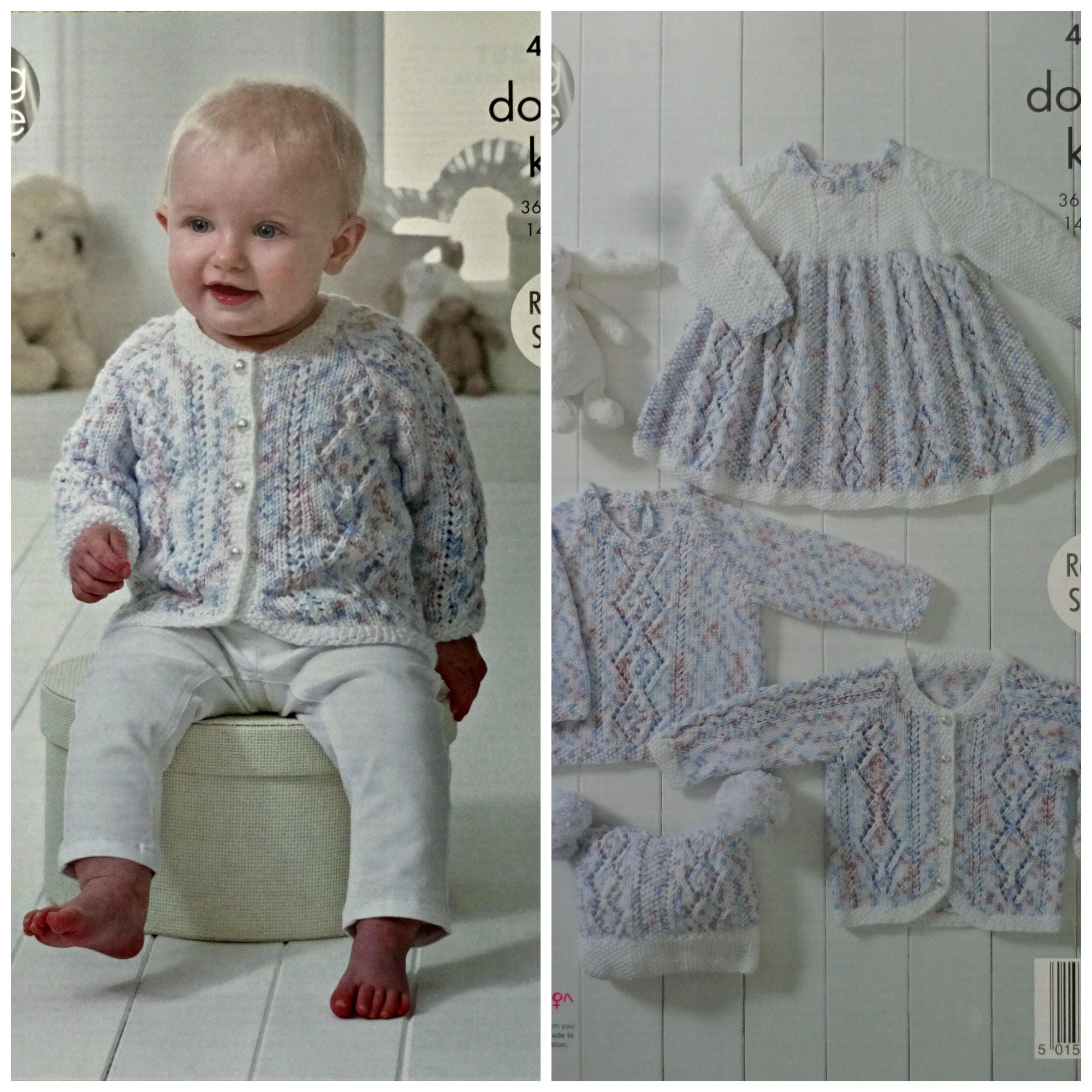 Baby Knitting Pattern K4896 Baby\'s Smock Dress Cardigan Jumper and ...