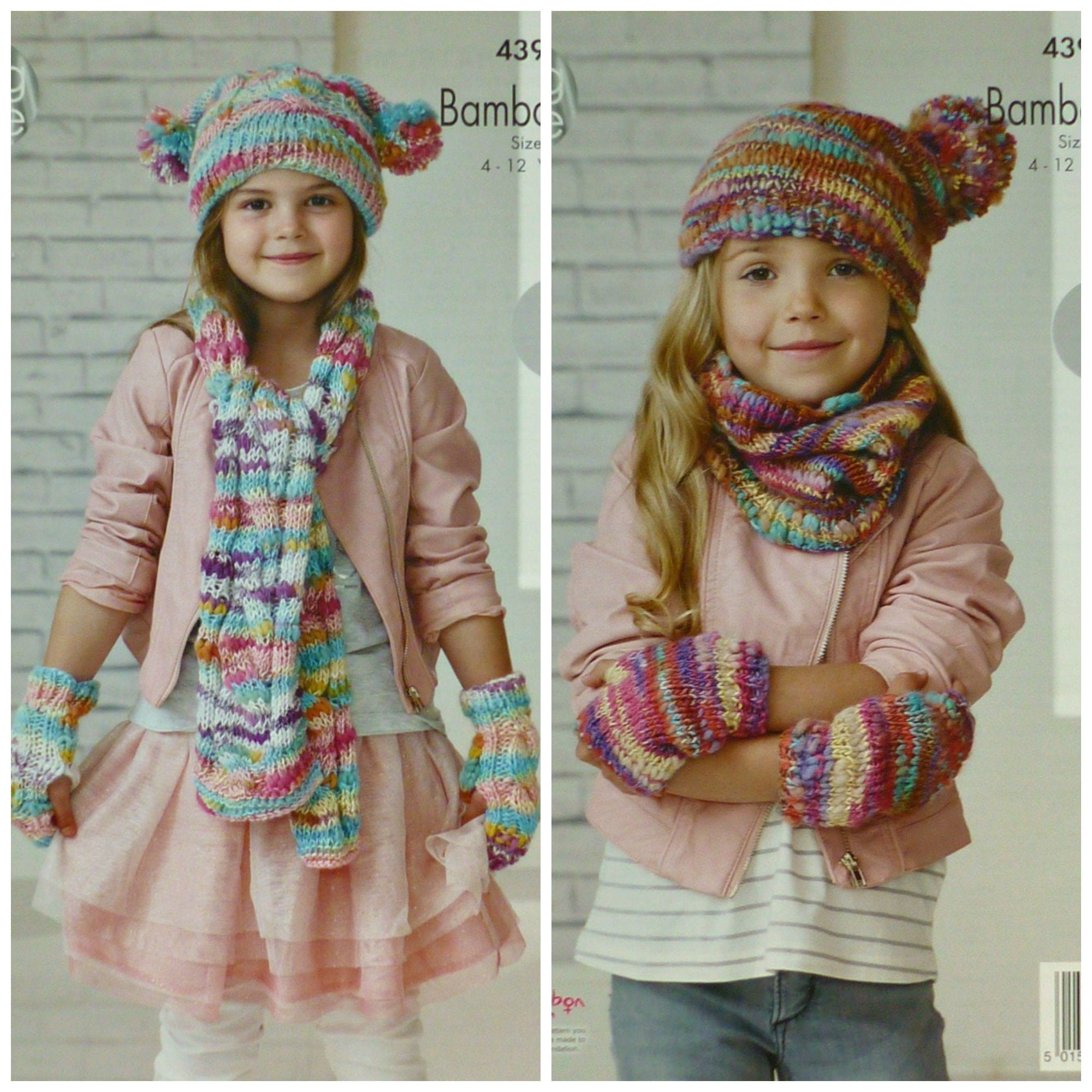 Girls Knitting Pattern K4391 Childrens Square Cable Hat Cable Scarf