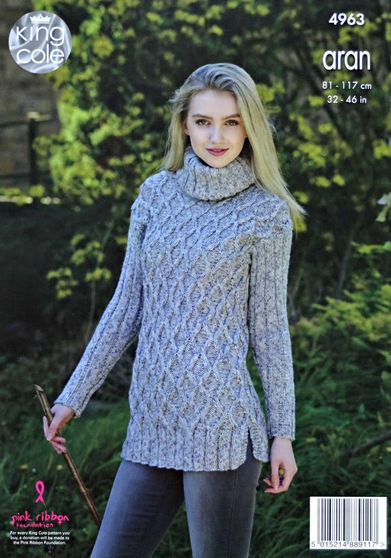 721e962c5a26 Womens Knitting Pattern K4963 Ladies Long Sleeve Polo Neck