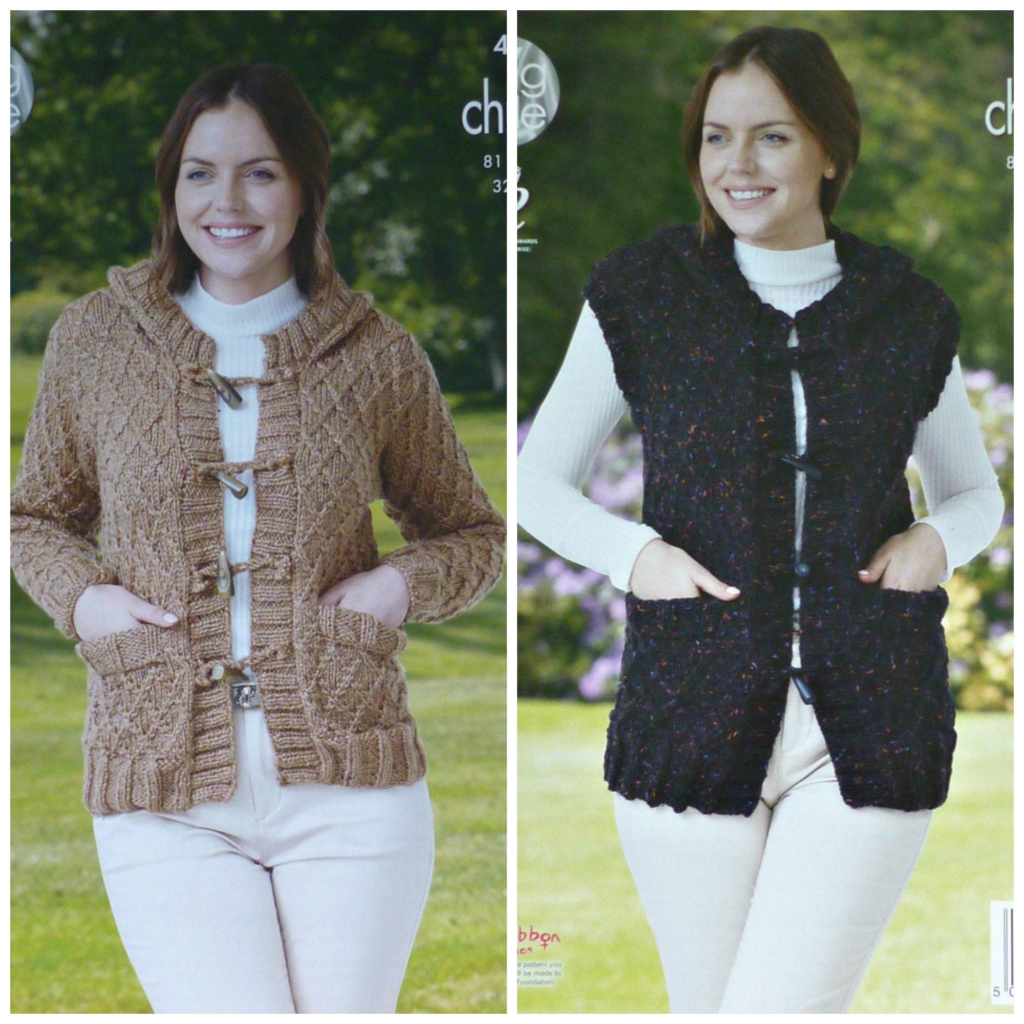 ee6d4159f Womens Knitting Pattern K4423 Ladies Trellis Pattern Hooded Jacket ...