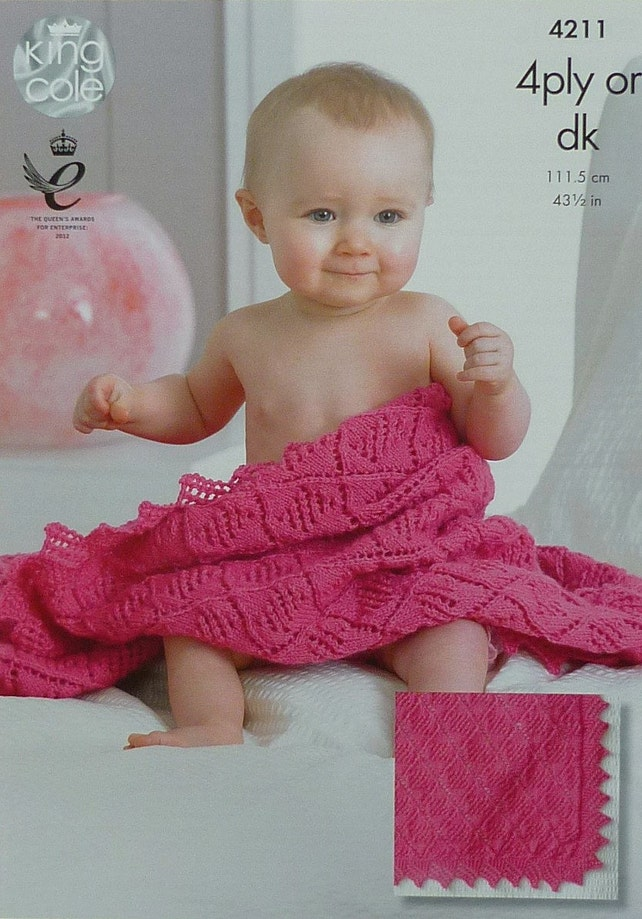 Baby Blanket Knitting Pattern K4211 Babies Easy Lace | Etsy