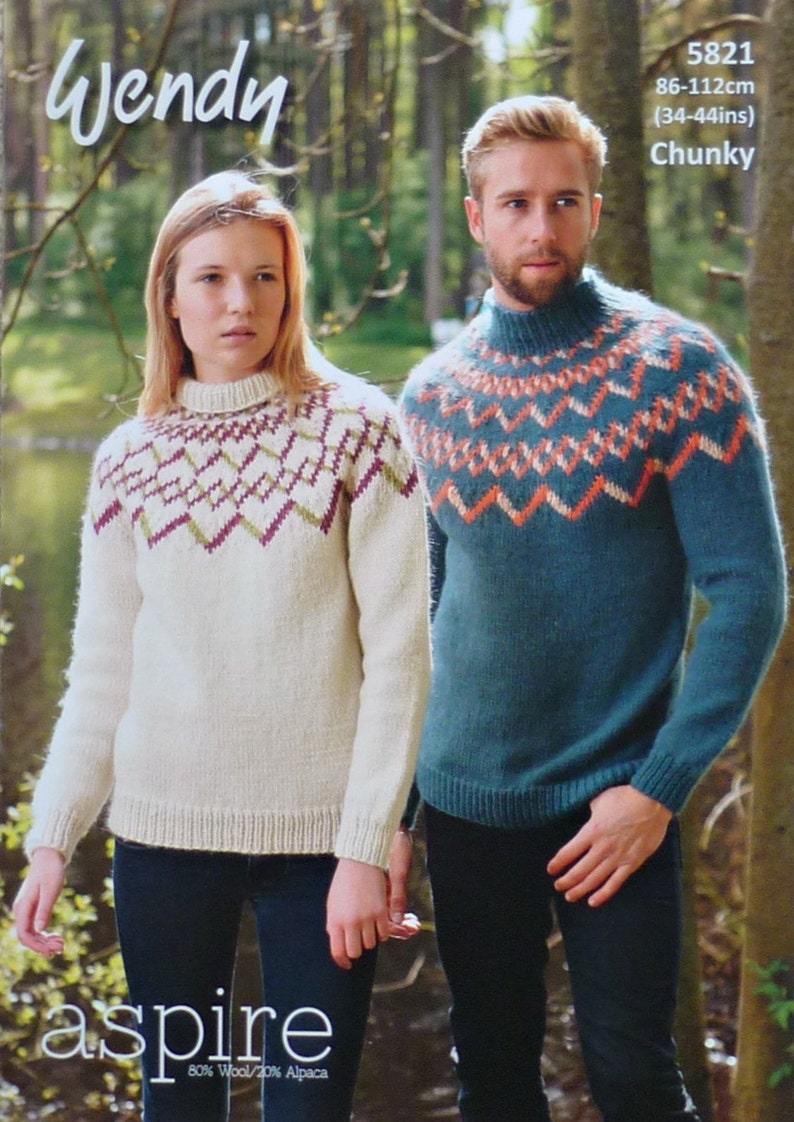 ecb806c3b004a8 Womens Knitting Pattern W5821 Ladies Mens Traditional Fairisle
