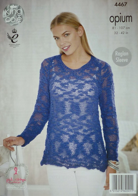 e681885f1 ... King Cole $4.42 Womens Knitting Pattern K4467 Ladies Long Sleeve V-Neck  Jumper Knitting Pattern Opium Aran (