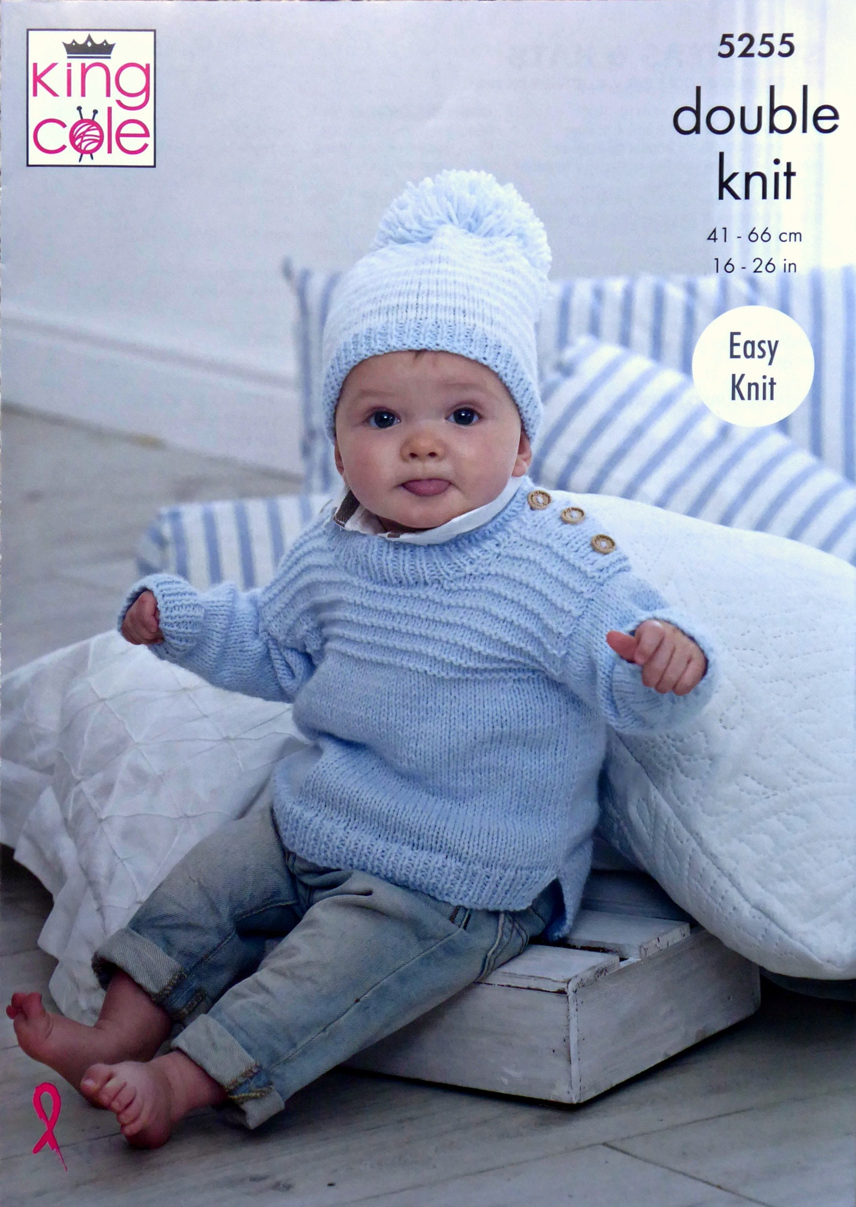 4fbdf7689 Baby Knitting Pattern K5255 Baby Easy Knit Jumpers   Striped or ...