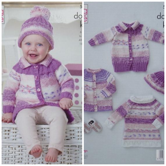 8289c683b Baby Knitting Pattern K5137 Babies Cardigan Coat Tunic and