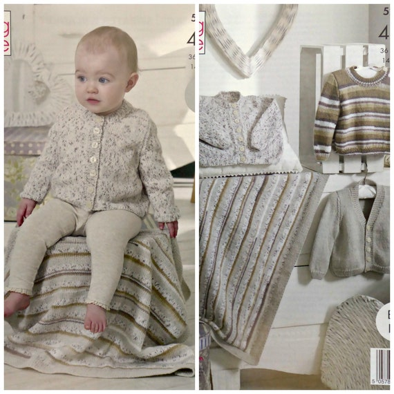 2aa8d76ec0c6 Baby Knitting Pattern K5295 Baby Easy Knit Round Neck or
