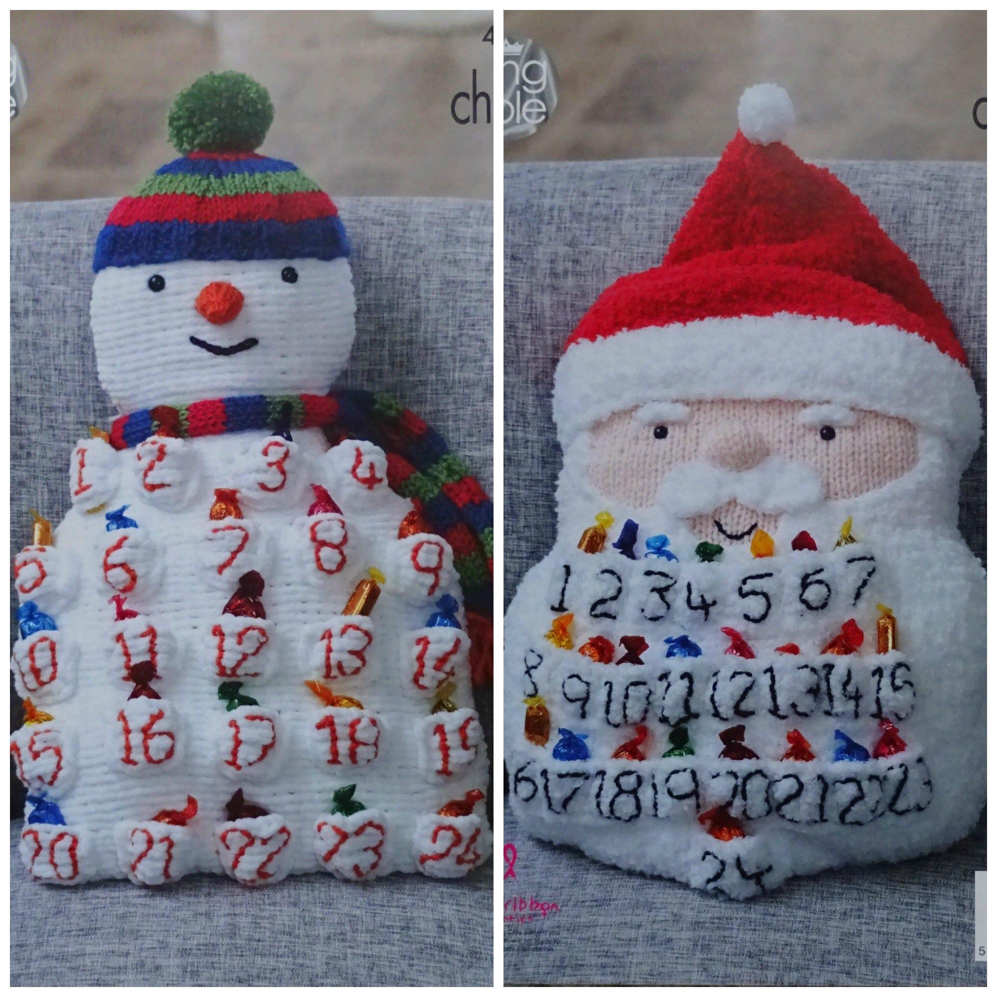 Christmas Knitting Pattern K4871 Snowman or Santa Advent Cushion ...