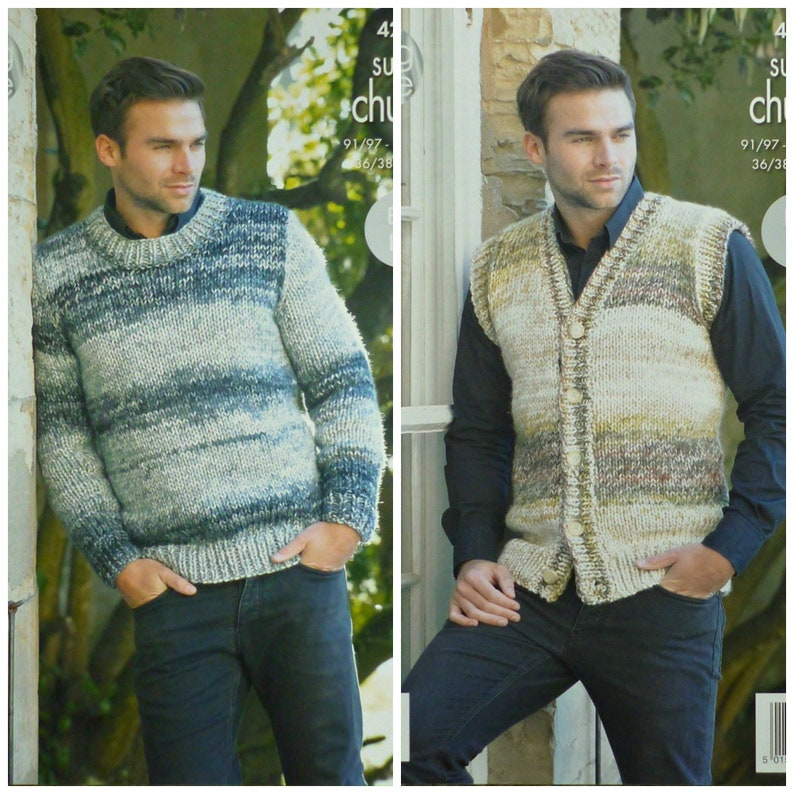 4e3a901cca168 ... CHUNKY EASY KNIT MENS SWEATER KNITTING PATTERN - 38 to 48 Men s jumper   free knitting pattern image 0 .