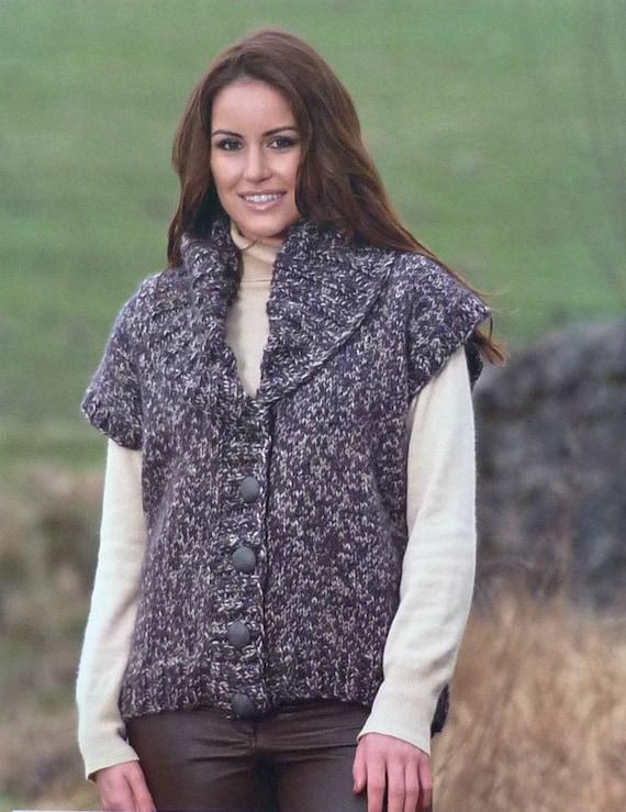 "Wendy Knitting Pattern 5671 Ribbed Collar Jacket Cardigan 32-40/"" Chunky Ladies"