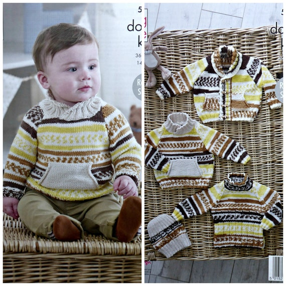 KNITTING PATTERN Baby Easy Knit Moss Stitch Cardigans /& Jumper King Cole DK 4910