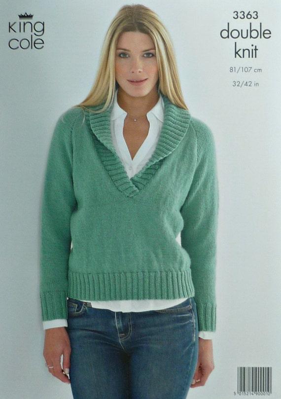 Free UK P/&P King Cole Ladies Sweaters Merino Knitting Pattern 3363  DK ...