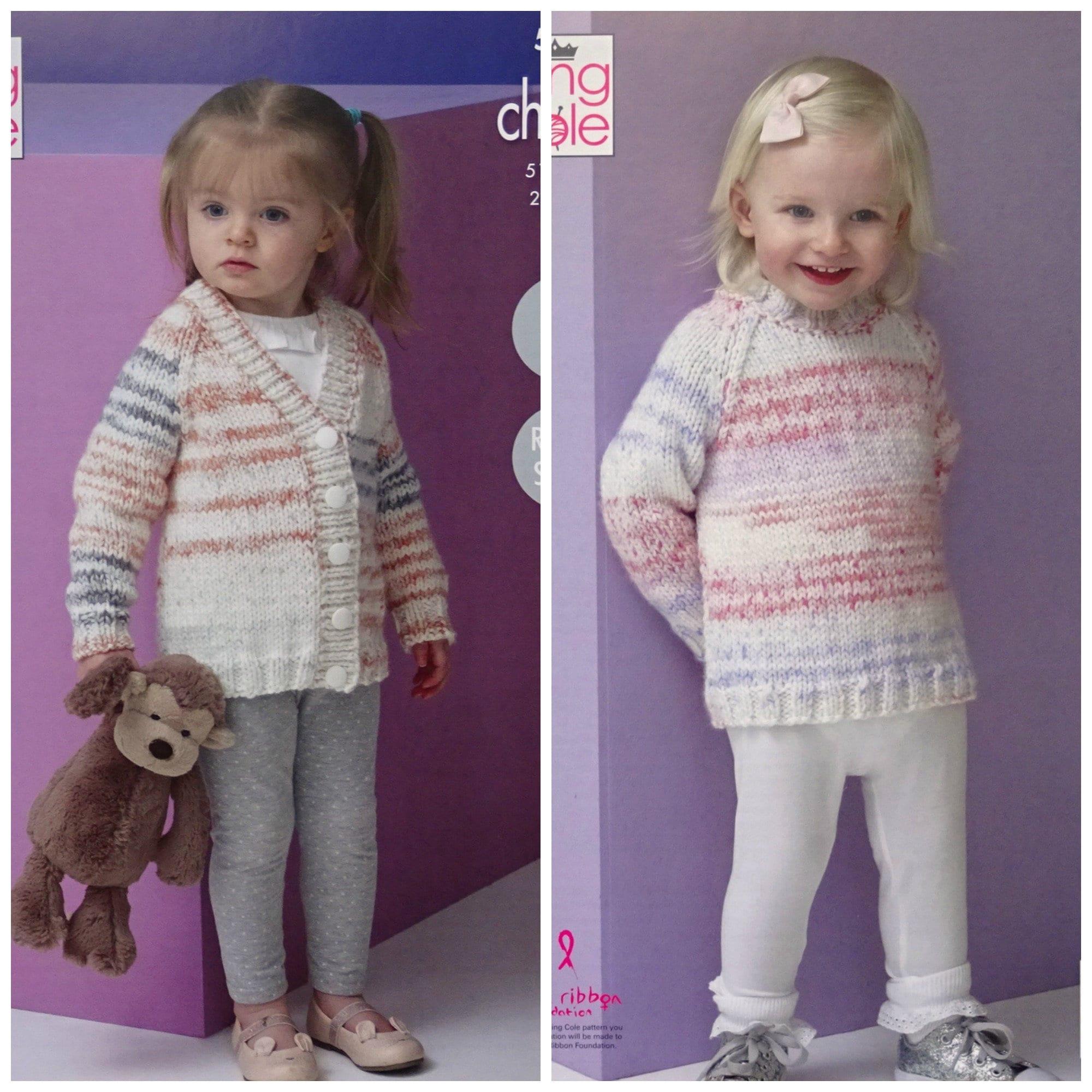 b9b7a30c5d94 Girls Knitting Pattern K5211 Childrens Easy Knit Long Sleeve Round ...