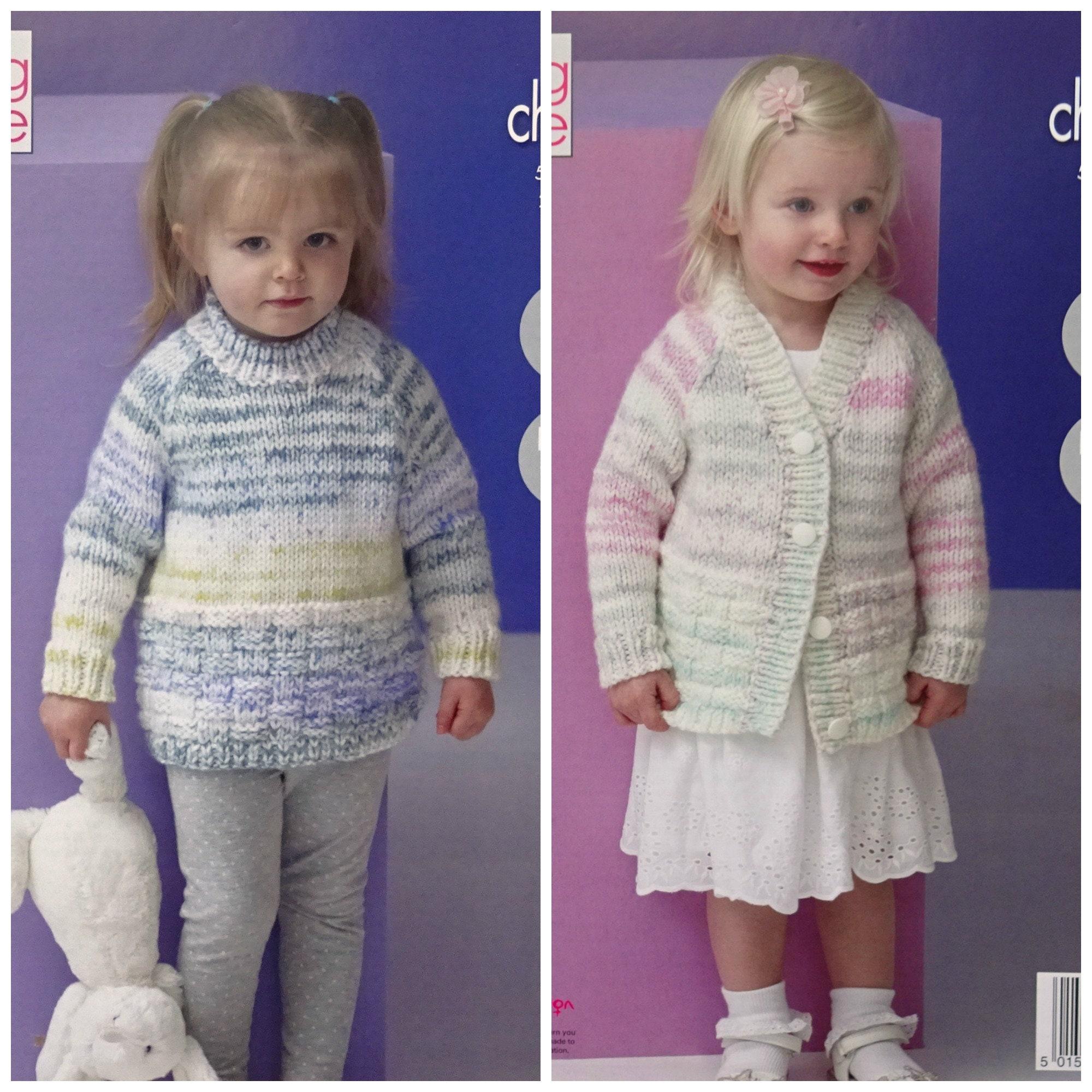 72e2c476d Girls Knitting Pattern K5209 Childrens Easy Knit Long Sleeve Round ...
