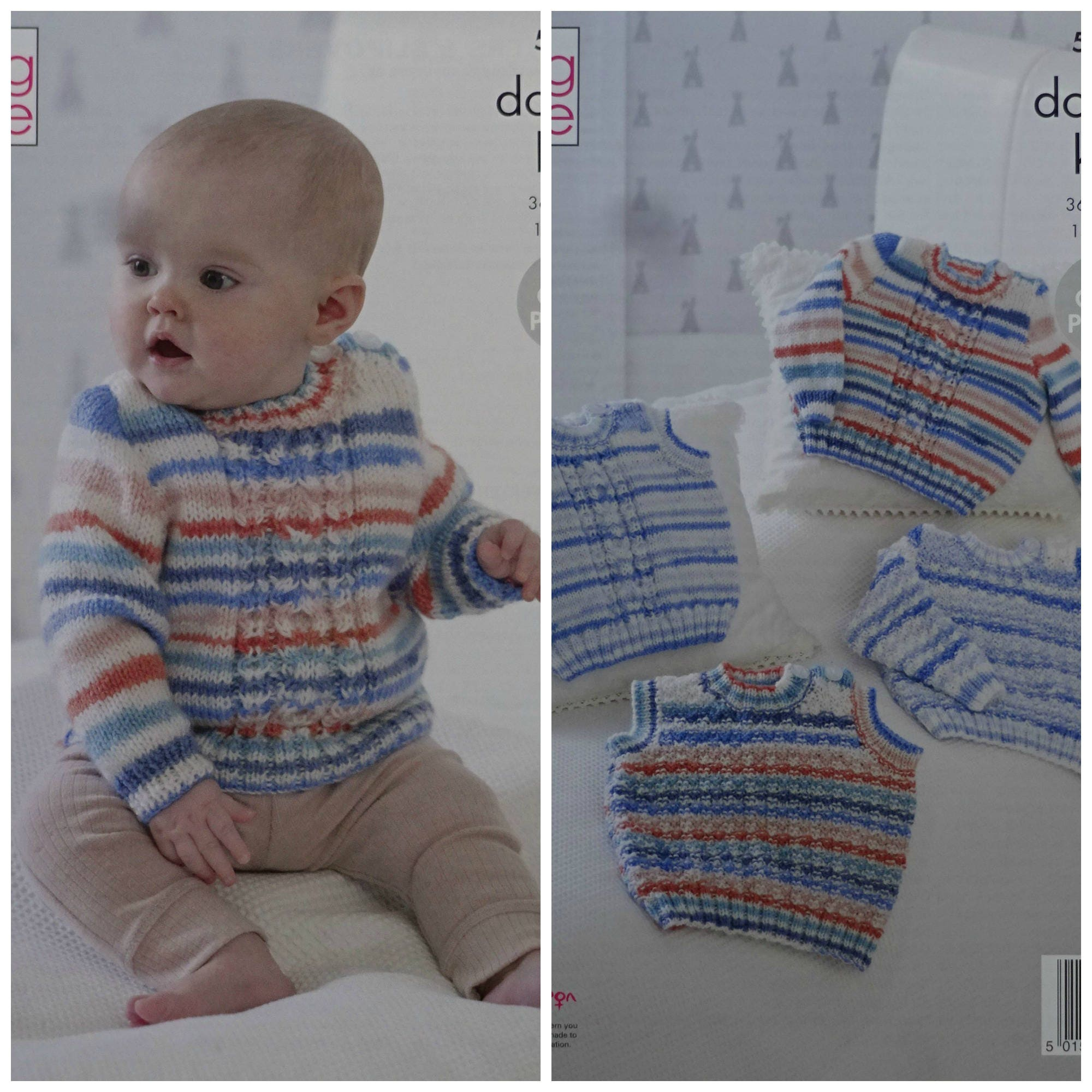 4069c5c7d917 Baby Knitting Pattern K5069 Baby s Long Sleeve or