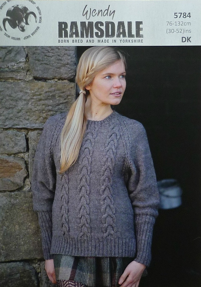 Womens Knitting Pattern W5784 Ladies Stepped Hem Cable Jumper Etsy