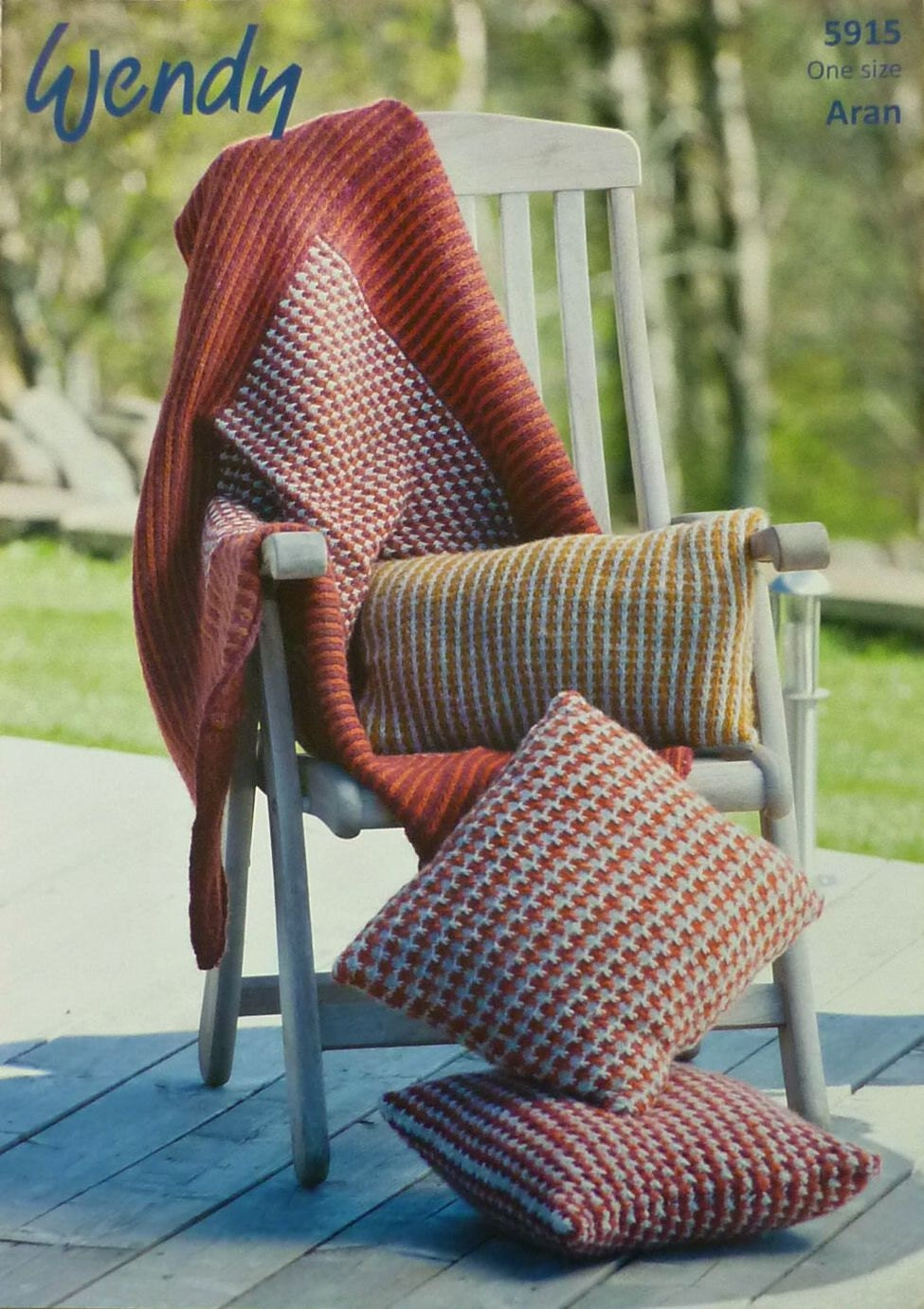 Blanket Knitting Pattern W5915 Two Colour Throw Blanket Square
