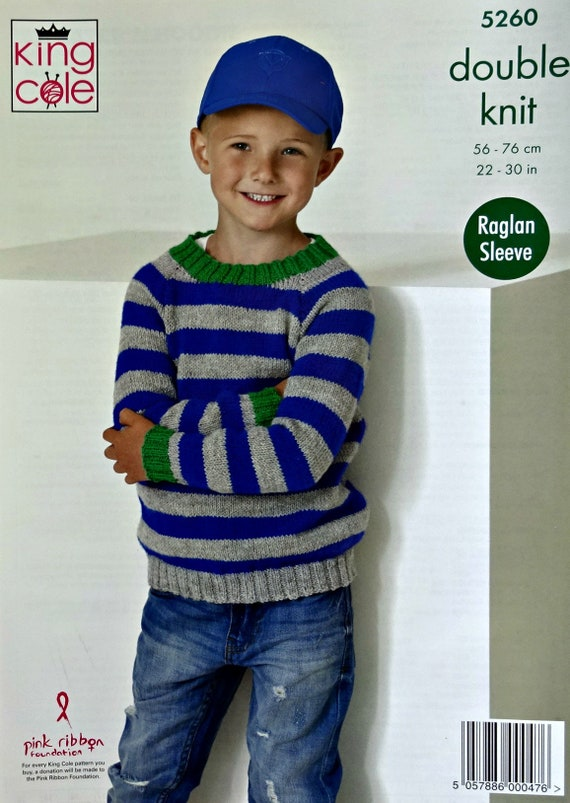 70a2ace47 Boys Knitting Pattern K5260 Childrens Easy Knit Round Neck or